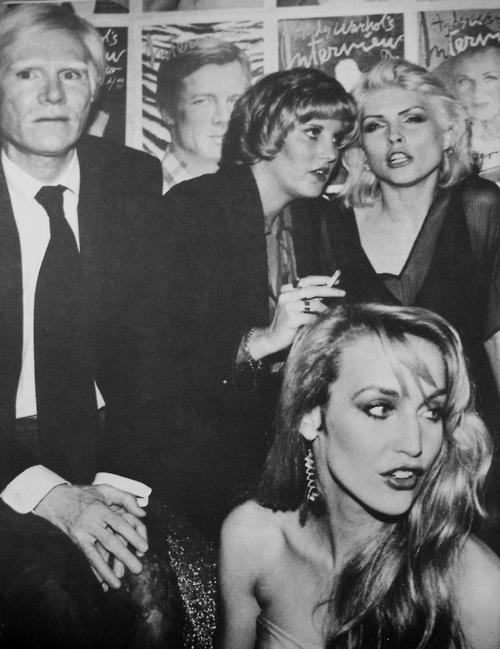 Andy Warhol, Lorna Luft, Debbie Harry and Jerry Hall at Studio 54.