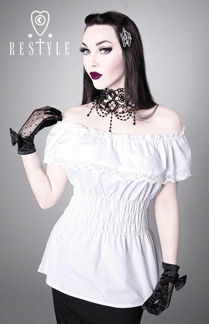 R-26 CHARLOTTE WHITE Gotycka bluzka, opuszczane rękawki, gothic lolita