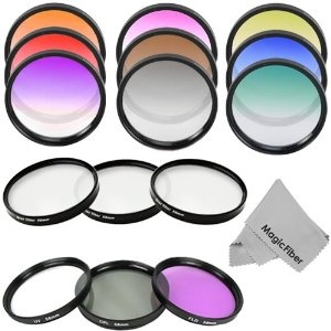 Amazon.com: Professional 58MM Filter Kit for CANON Rebel (T3i T3 T2 T2i T1i XT XTi XSi XS), CANON EOS (1100D 600D 550D 500D 450D 400D 350D 300D 60D 7D) - Includes: UV, Polarizer and Fluorescent Filters + Star Filter Set (4, 6 and 8 points) + Graduated Color Filter Kit (Blue, Red, Yellow, Green, Orange, Purple, Grey, Pink and Coffee) + MagicFiber Microfiber Lens Cleaning Cloth: Camera & Photo