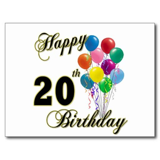Happy Birthday 20th Quotes: Happy 20th Birthday With Balloons Postcard