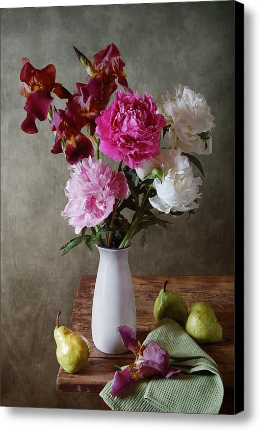 Canvas Print: http://nikolay-panov.pixels.com/products/iris-and-peonies-nikolay-panov-canvas-print.html • Floral #stilllife #photography with bouquet of #irisflowers and pink and #whitepeonies in vase and #greenpears on wooden table in #summertime in #countryside