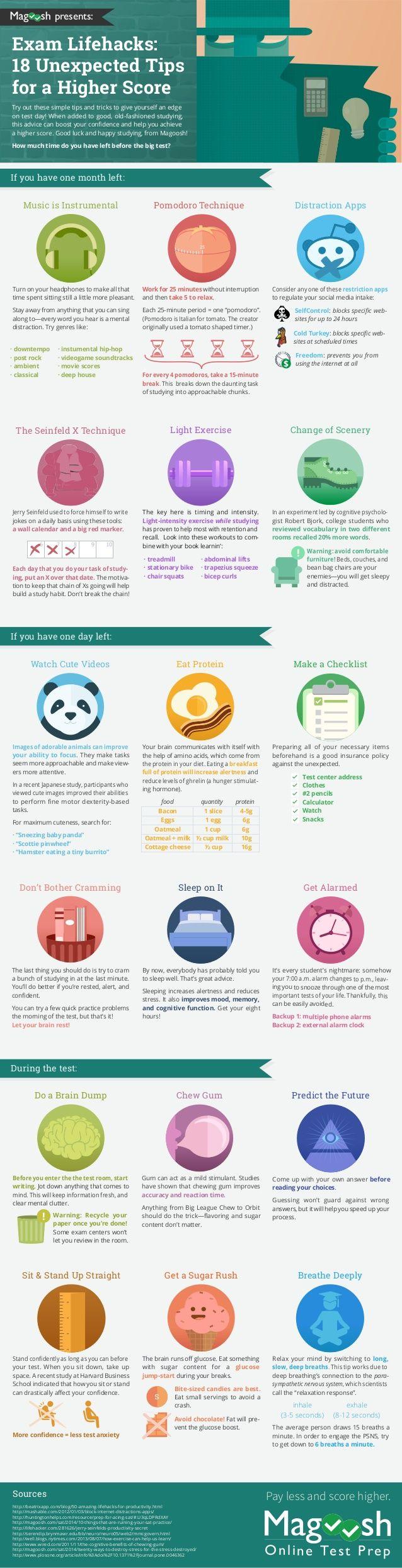 Exam Lifehacks Infographic