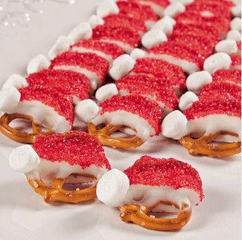 Santa Hats: Christmas Food, Minis Twists, White Chocolates, Santahat, Santa Hats, Idea, Christmas Parties Food, Hats Pretzels, Minis Marshmallows