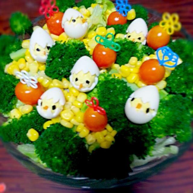 子供の2歳の誕生日に作りました(^^♪ - 14件のもぐもぐ - ひよこのサラダ by tyamutyamu