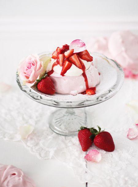 Mini Pavlova with Rosewater, Cream & Strawberries