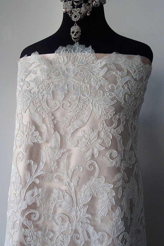 Ivory bridal lace fabric corded lace Alencon scallop edging