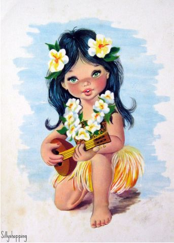 Vintage Big Eyed Girl Postcard