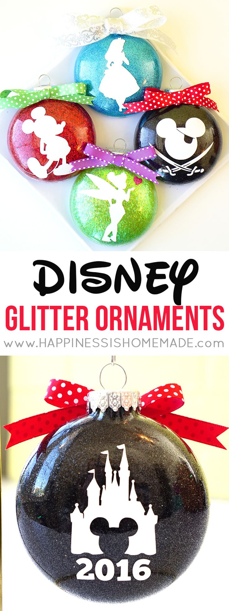These Disney Glitter Christmas Ornaments are a super quick and easy DIY holiday decoration and gift idea! Customize with your favorite characters!