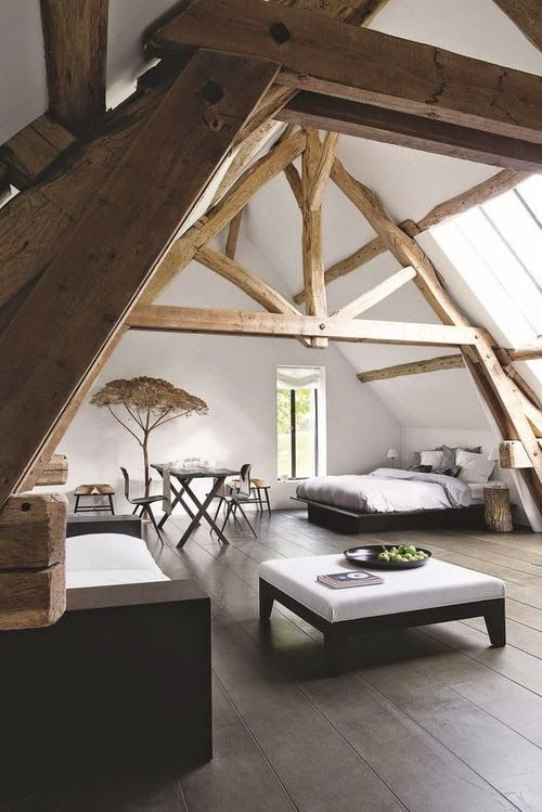 Rustic master bedroom with beautiful wooden beams