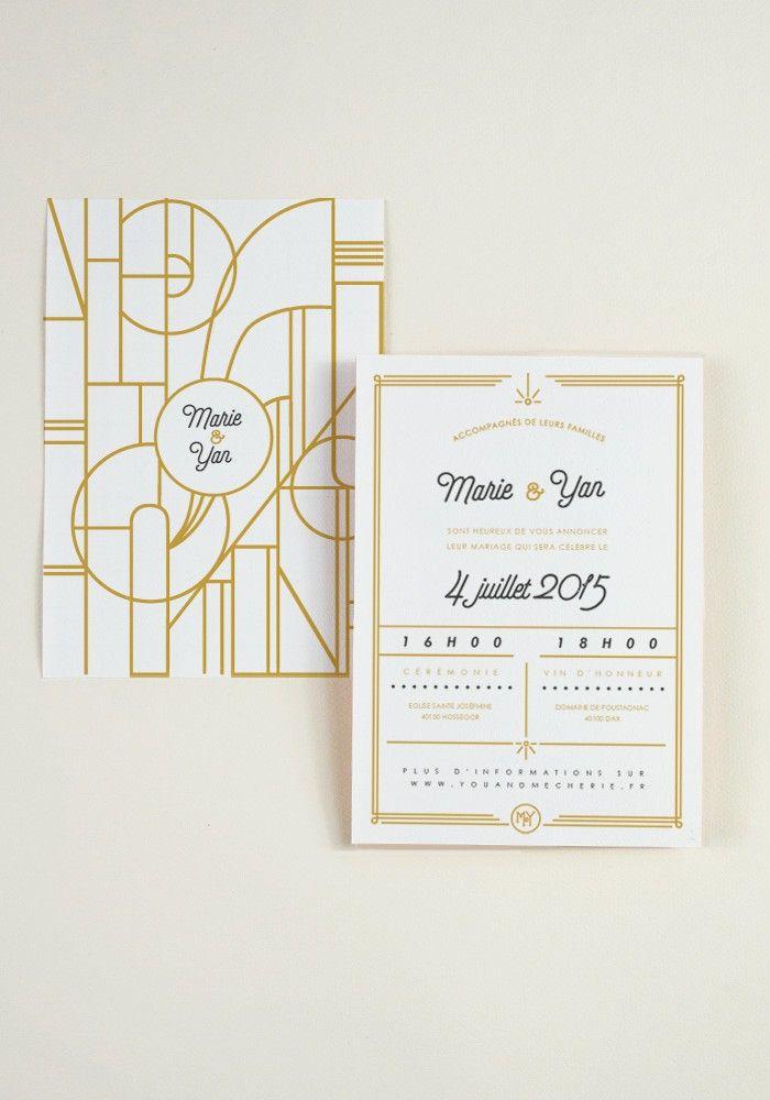 Envie de célébrer votre mariage sous le thème Art Nouveau ? cette collection est faite pour vous. Ligne graphique et motif art déco, retrouvez toute la papeterie mariage de votre joli jour par ici : http://papierandco.com/faire-part-mariage-original/5342-faire-part-art-nouveau.html