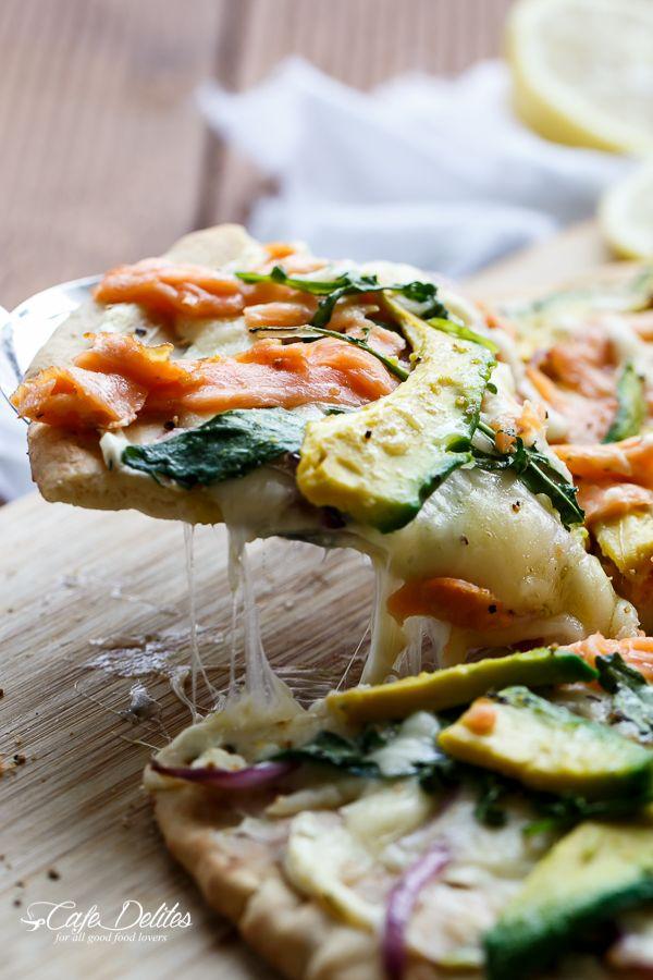 Cafe Delites | Smoked Salmon and Avocado Pizza | http://cafedelites.com