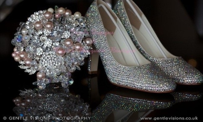 Shoes by : www.JazzleDesigns.com    Photography by: www.gentlevisions.co.uk Crystal Bouquet by : www.crystalbouquetsboutique.com