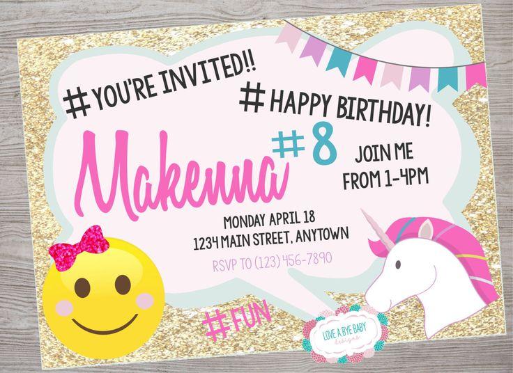 Justice Emoji birthday party invitation. printable