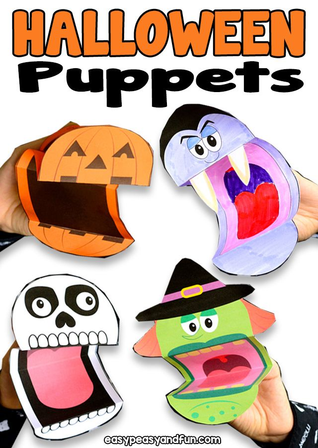 photo about Halloween Craft Printable named Printable Halloween Puppets - outstanding Halloween craft for youngsters