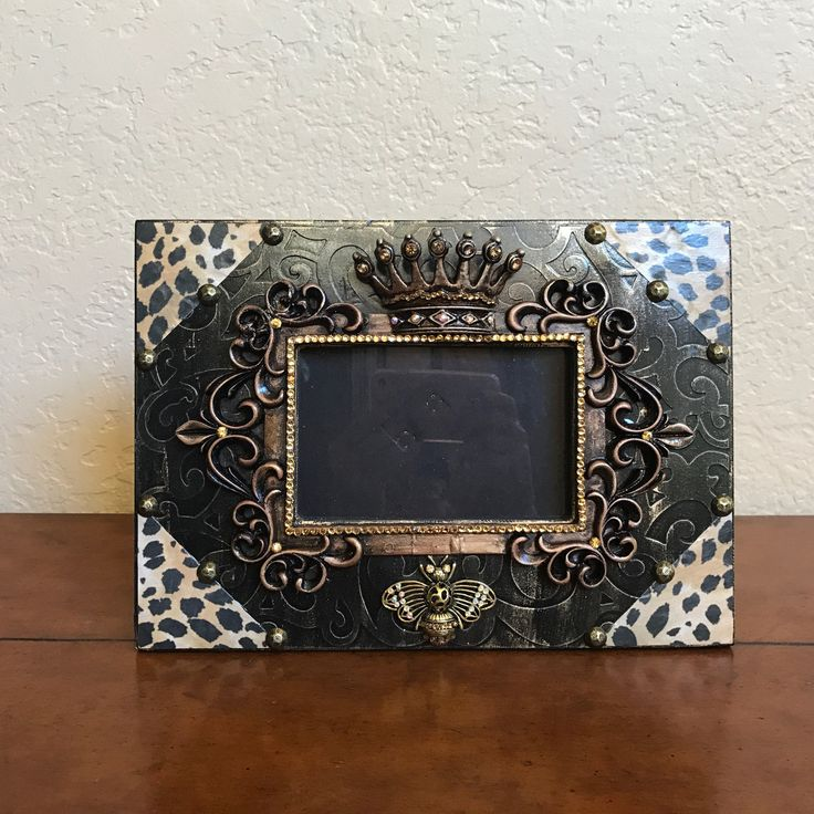 Decorative Picture Frames, Rhinestone Pictures Frames, Animal Print Frames, Crown Picture Frames, 4x6 Picture Frames, Decorative Frames by Stylishvintagedesign on Etsy