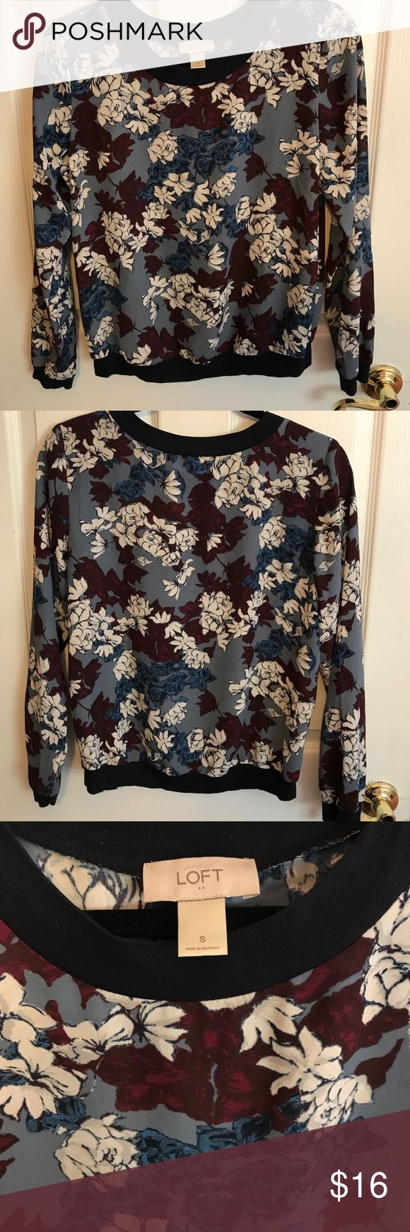 Ann Taylor Loft Outlet Floral Top Ann Taylor Loft Outlet Floral Top. Only worn twice! In perfect condition. Semi sheer material, runs a little big (can easily fit a medium). Sweater like look, perfect for fall! LOFT Tops Blouses
