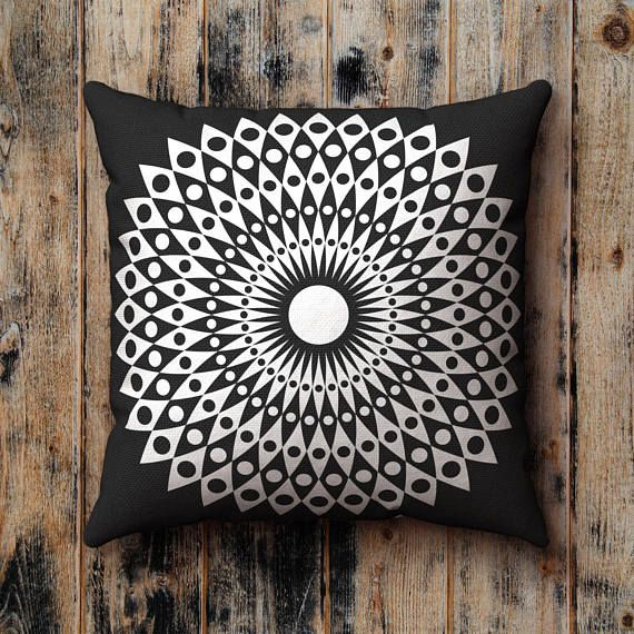 Black And White Pillow Case Mid Century Monochrome Flower