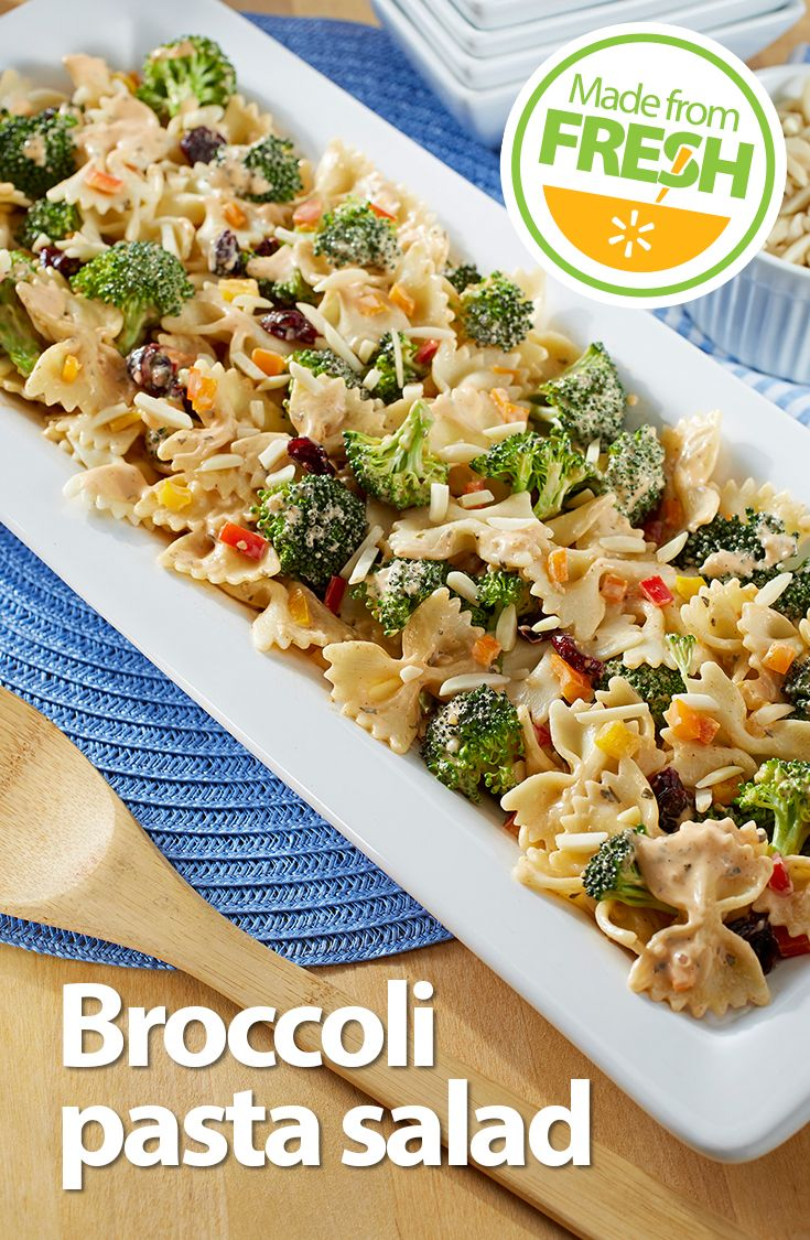What happens when you mix fresh broccoli with crunchy red peppers, tart cranberries, and pasta in a cheesy, tangy dressing? This irresistible pasta salad! Find these fresh ingredients at your local Walmart.