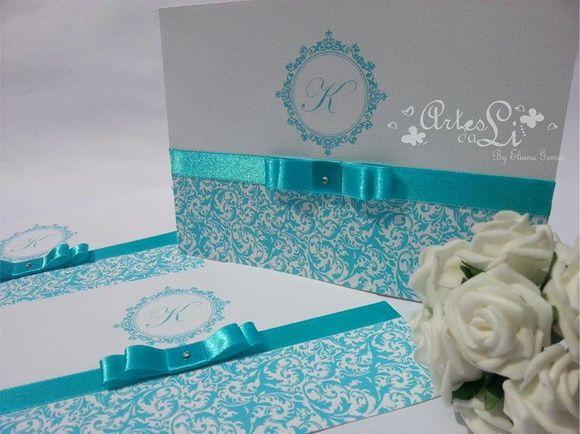 Convite de Casamento,15 Anos Azul Tifany