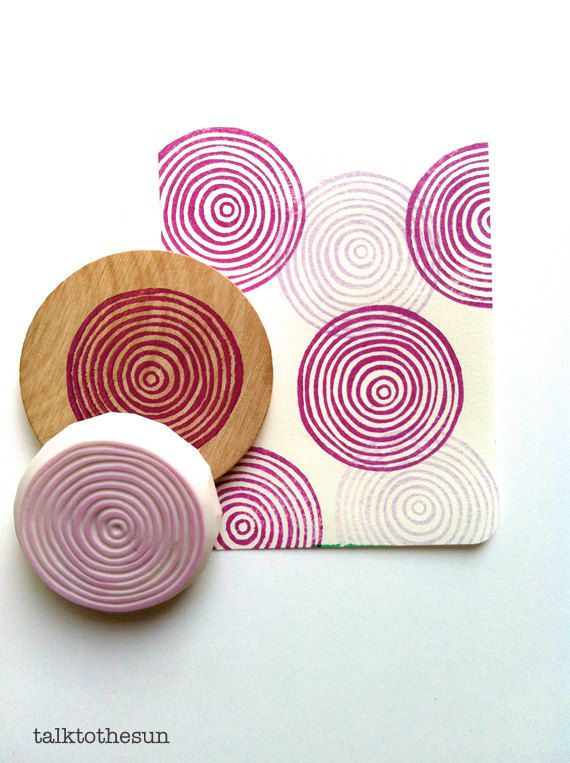 circle rubber stamp. hand carved rubber stamp. by talktothesun