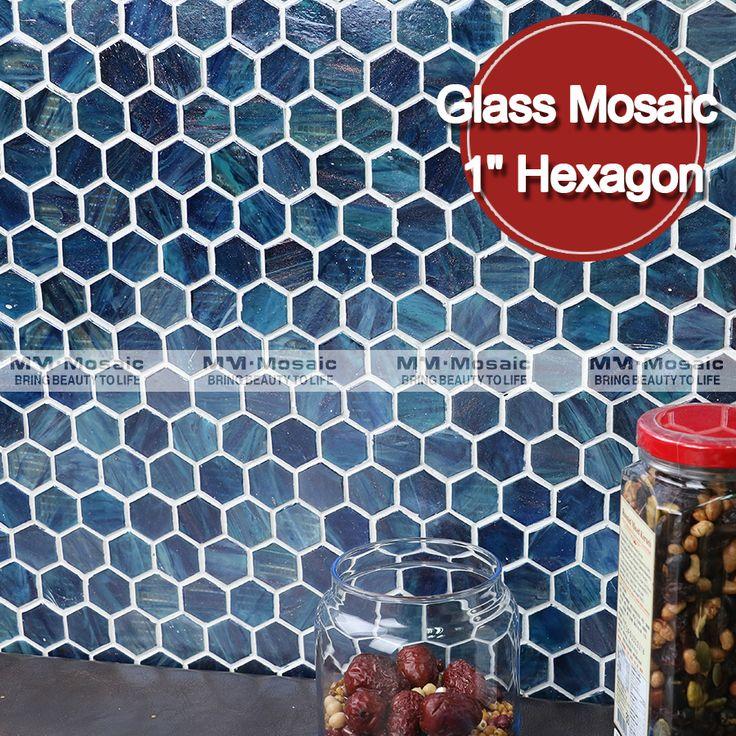 MM azul hexagonal telhas de mosaico para cozinha backsplash Mosaico de hot melt-Mosaicos-ID do produto:60490349300-portuguese.alibaba.com