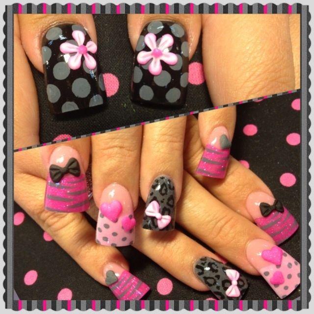 Pink and grey 3-d - Nail Art Gallery