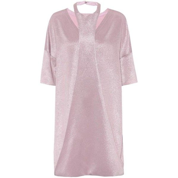 Valentino Metallic Crêpe Minidress ($3,330) ❤ liked on Polyvore featuring dresses, purple, valentino dress, short pink dress, purple dresses, short purple dresses and crepe dress