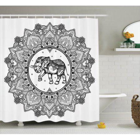 Mandala Decor Shower Curtain Set, Digital Paisley Mandala Motif With Elephant Inside Ideal Ethnic Strength Honor Symbol, Bathroom Accessories, 69W X 70L Inches, By Ambesonne