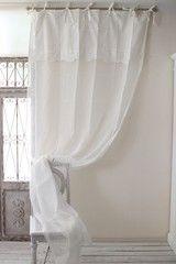 フレンチカントリー シャビーシック アンティーク風 姫系。フランスから届くフレンチリネン カーテン・リボンタイプ(ホワイト×ベージュ系) Blanc de Paris 間仕切り のれん モノグラム刺繍 シャビーシック アンティーク風 フレンチカントリー フランス 姫系
