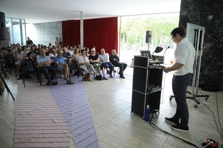 """Spyros Papapetros talking about """"Malicious Houses"""" at the Mies Pavilion http://www.fundacionhannefkens.org/wp-content/uploads/2015/07/15.07.22NefkensMaliciousHousesSpyros061.jpg"""