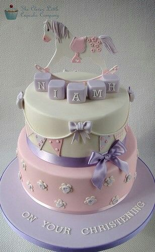 Rocking horse and bunting Christening cake - Clever Little Cupcake Company