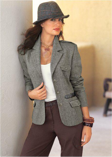 Blazer en tweed, bpc selection, noir chiné