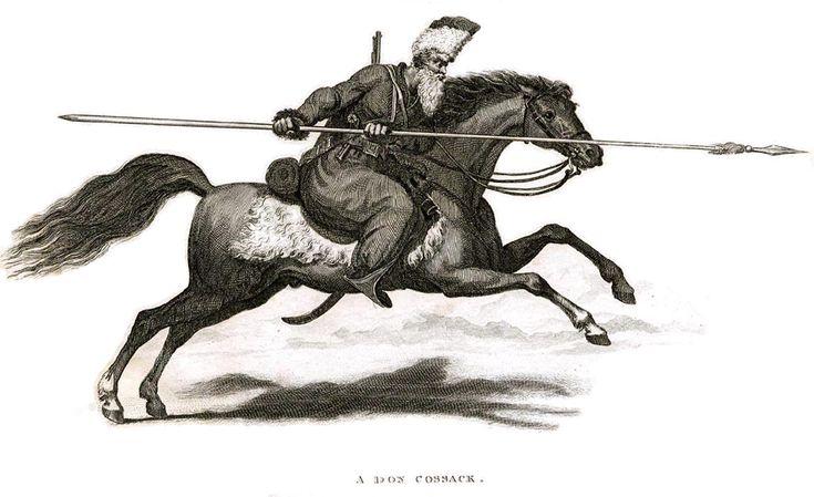Гравюра Донской казак [Землянухин ?] на коне. Великобритания