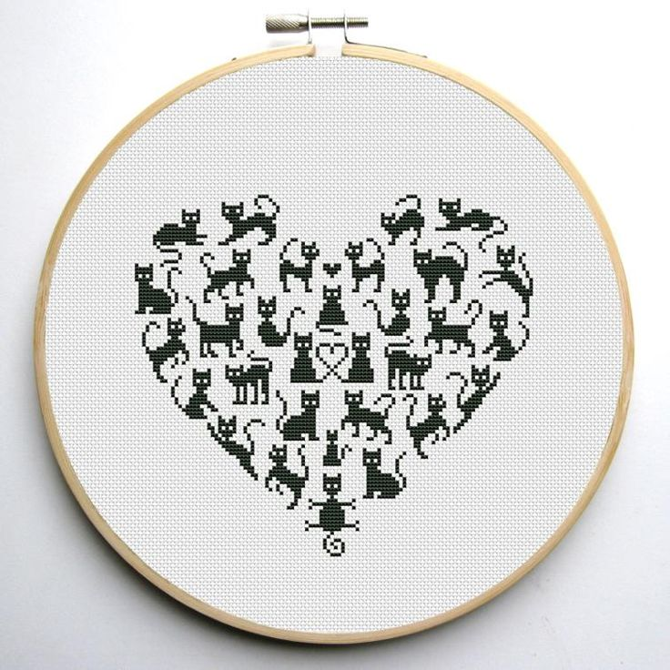 Heart and Cats 2 cross stitch pattern | Craftsy