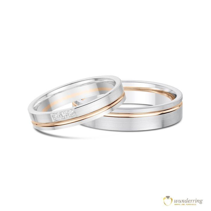 Ringpaar in 18K/750er Weißgold und Roségold von wunderring®. Den Damenring zieren 3 Diamanten. Jetzt als Musterrring testen! #Eheringe #Trauringe #Ringe #Bicolor