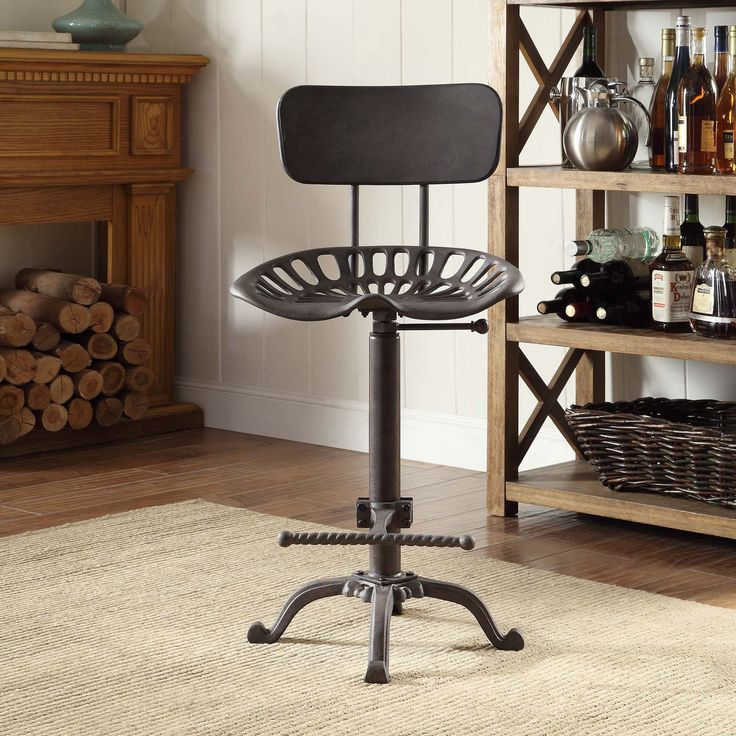Joren Grey Cast Iron Tractor Seat Stool With Back (Industrial)