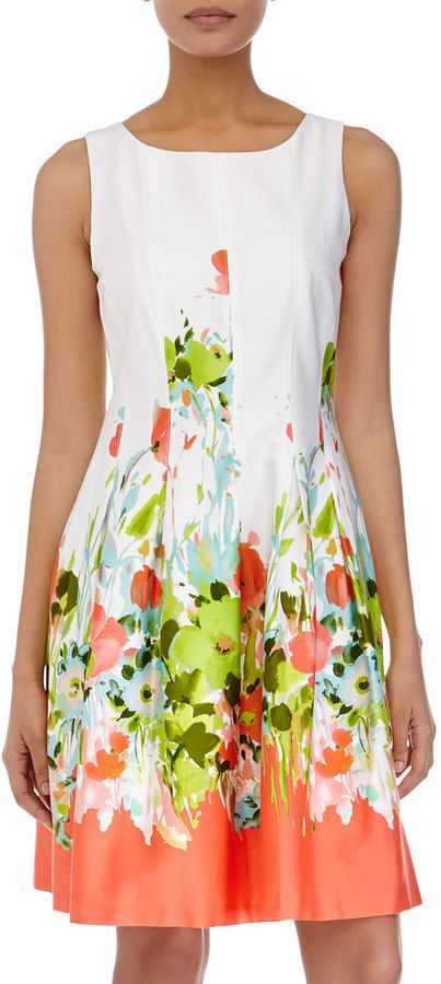 $99, Chetta B Floral Print Sleeveless Fit And Flare Dress Whiteneon. Sold by Last Call by Neiman Marcus. Click for more info: https://lookastic.com/women/shop_items/250213/redirect