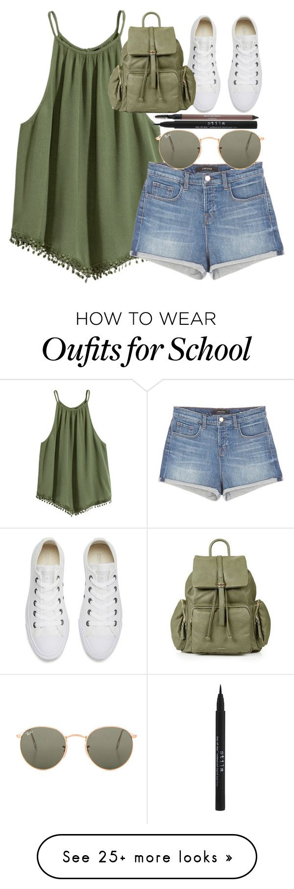 """""""Back2School"""" by itsfashioninfinity on Polyvore featuring Converse, J Brand, Topshop, Ray-Ban, Stila and Laura Geller"""