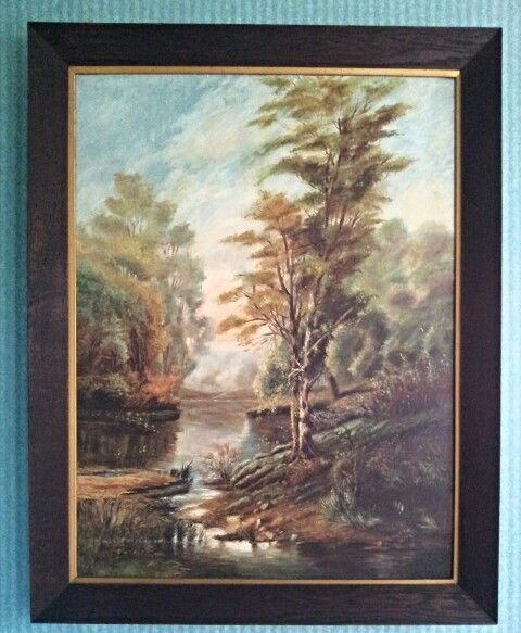 Titled ' Where Nature Smiles' by M. Ryder 1921. Oak frame. Oil on board.