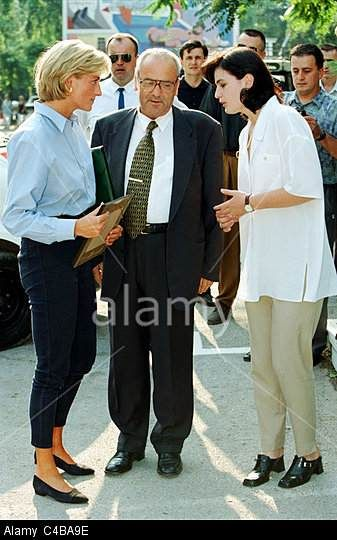 August 1997 Arriving at Sarajevo airport on a tour to publicize the international problems of land mines.