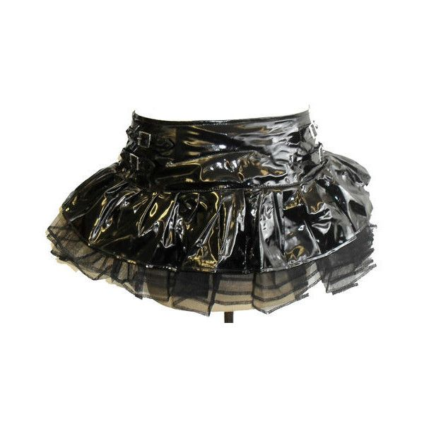 NEW BLACK PVC STUDDED BUCKLE TUTU MINI SKIRT SCENE 80'S PUNK GOTHIC... ❤ liked on Polyvore featuring skirts, mini skirts, dresses, goth, short skirt, 80s skirt, 80s tutu, goth skirt, 80s mini skirt and gothic mini skirt