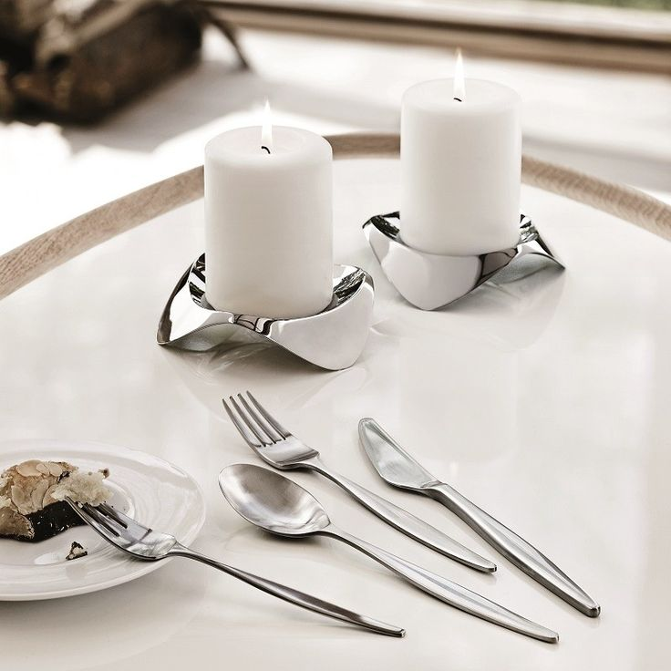 Stelton Papilio Uno Candle Holder, Silver, shiny, refelective & organically shaped candle holders will dress any table setting and add an ambient warm glow to your entertaining.