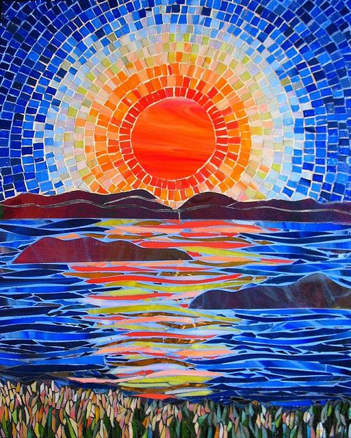 mosaic sunset over the water