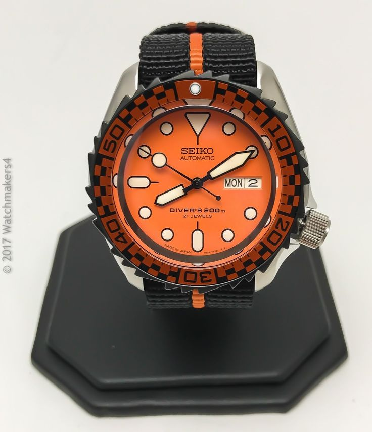 New JDM Seiko SKX 009 007 Mod Diver Automatic Orange Racer HD Homage Dive Watch 751744007014 | eBay