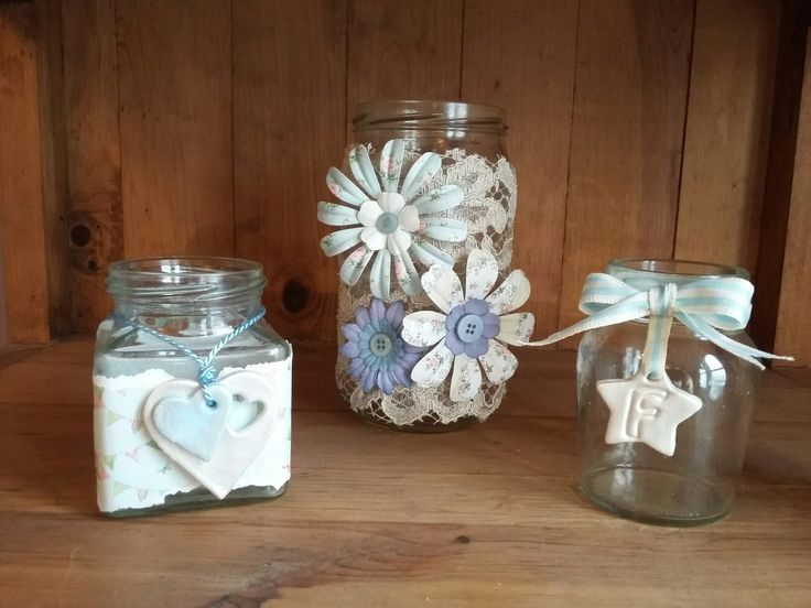 Lace and flowers jam jars