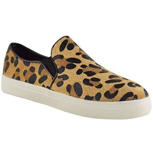 DAMEN SKATER TURNSCHUHE FLACHE SLIPPER PLIMSOLLS SCHULE SPORT PUMPS SCHUHE GRÖßE - Damen, Leopardenmuster Kunst Pony Haut, EU 38 - http://on-line-kaufen.de/fashion-thirsty/38-eu-damen-skater-turnschuhe-flache-slipper-gr-4