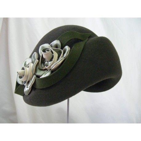 Alberta oliwkowa zieleń czapka toczek. Model retro lata 40-ste