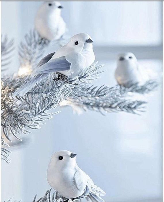 US Seller. 30x20cm White birds on Snow Frosted Tree, Christmas