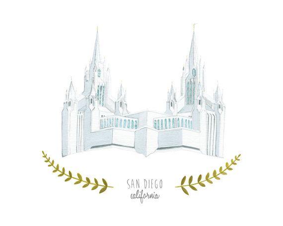 San Diego California LDS Temple Illustration by HeatherMettra