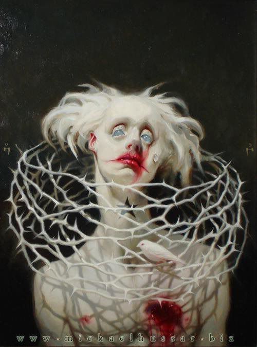 "This painting is titled ""Flown"" by Michael Hussar. Michael Hussar is by far my favourite artist and ultimately my biggest inspiration when it comes to my own style of work. I love the circus theme within his work; especially the sick, albino, bloodied up clown aesthetic which is prevalent in this piece. I also see inspiration taken from artistic depictions of Christ."